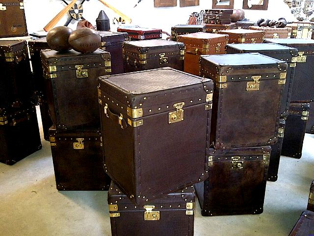 Side trunks 45 x 40 x 55 ideal bedsides or lamp tables. Some with vintage  luggage labels and brass name plaques. - TOTALLY TRUNKS